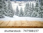 Small photo of A table full of snowflakes with space for your product advertisement. Winter landscape of trees covered with snow and overcast with blue dramatic sky.