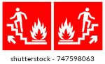 emergency fire exit upwards... | Shutterstock .eps vector #747598063