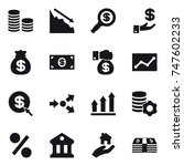 16 vector icon set   coin stack ... | Shutterstock .eps vector #747602233