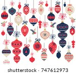 christmas ornament elements | Shutterstock .eps vector #747612973