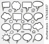 a set of comic bubbles and... | Shutterstock .eps vector #747618337