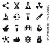 16 vector icon set   molecule ... | Shutterstock .eps vector #747620587