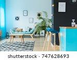 loft design in shades of blue... | Shutterstock . vector #747628693