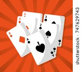 poker playing cards deck hazard ... | Shutterstock .eps vector #747629743