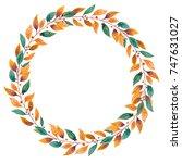 fall wreath. watercolor...   Shutterstock . vector #747631027