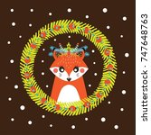 cute christmas card with a... | Shutterstock .eps vector #747648763