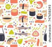 japanese sushi  seamless... | Shutterstock .eps vector #747658393