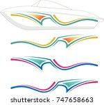 boat graphics  stripe   vinyl... | Shutterstock .eps vector #747658663