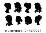 woman head silhouette  face... | Shutterstock .eps vector #747677737