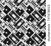 cassette tape video home system ...   Shutterstock .eps vector #747678013