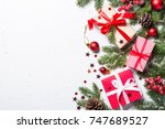 christmas background. snow fir... | Shutterstock . vector #747689527