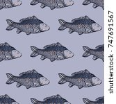 seamless pattern with carp fish.... | Shutterstock .eps vector #747691567