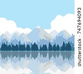 the mountains and trees are... | Shutterstock .eps vector #747694093
