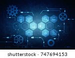 2d illustration technology... | Shutterstock . vector #747694153