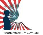 veterans day. usa soldier.... | Shutterstock .eps vector #747694333