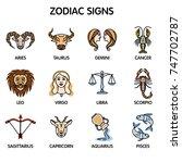 the twelve zodiac signs  aries  ... | Shutterstock .eps vector #747702787