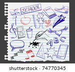 illustration of doodles on a torn notebook page