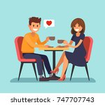 man and wooman sitting in a... | Shutterstock .eps vector #747707743