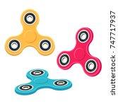 fidget spinner set  different...   Shutterstock .eps vector #747717937