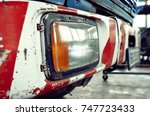 red and white front bumper and... | Shutterstock . vector #747723433
