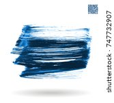 blue brush stroke and texture.... | Shutterstock .eps vector #747732907