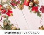christmas decoration on white...   Shutterstock . vector #747734677