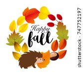 cute happy fall greeting card... | Shutterstock .eps vector #747752197
