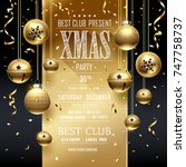 christmas party golden design... | Shutterstock .eps vector #747758737
