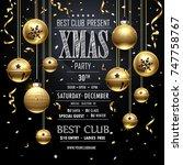 christmas party golden design... | Shutterstock .eps vector #747758767