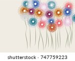 colorful doodle flowers... | Shutterstock .eps vector #747759223