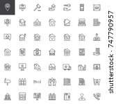 real estate line icons set ... | Shutterstock .eps vector #747790957