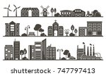 Vector Silhouette Of City  Tow...