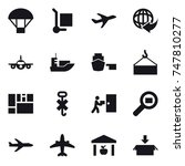 16 vector icon set   parachute  ... | Shutterstock .eps vector #747810277
