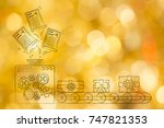 christmas wishes and presents... | Shutterstock . vector #747821353