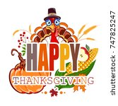 happy thanksgiving abstract... | Shutterstock . vector #747825247