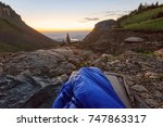 waking up in a sleeping bag at... | Shutterstock . vector #747863317