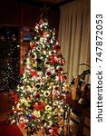 christmas tree decorated with... | Shutterstock . vector #747872053