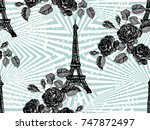 seamless paris pattern with... | Shutterstock .eps vector #747872497