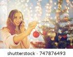 x mas  winter holidays and... | Shutterstock . vector #747876493