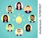 team meeting brainstorming... | Shutterstock . vector #747892507