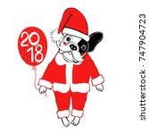 french bulldog in santa claus... | Shutterstock .eps vector #747904723