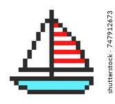 ship yacht boat pixel art...   Shutterstock . vector #747912673