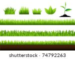 grass set  isolated on white...