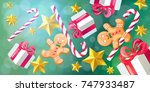 christmas and new year 2018... | Shutterstock .eps vector #747933487