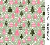 cute vector seamless pattern... | Shutterstock .eps vector #747934477