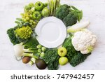 Above View Of Green Vegetables...