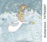 christmas angel. child...   Shutterstock .eps vector #747960007