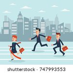 business people running to... | Shutterstock .eps vector #747993553