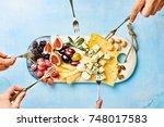 cheese plate antipasti snack... | Shutterstock . vector #748017583