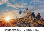 colorful hot air balloons... | Shutterstock . vector #748026463